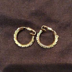 Vintage Gold Clip-On Hoop Earrings